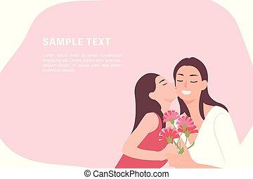 virág, lány, szegfű, neki, emberek, odaad, anyák, betű, karikatúra, tervezés, anyu, gyermek, csókolózás, boldog, transzparens, nap, ajándék, sablon