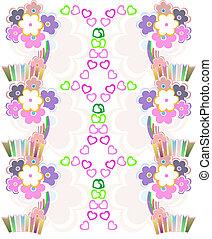 virág példa, seamless, vektor, retro, háttér