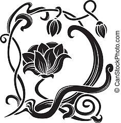 virág, stencil., dekoratív elem