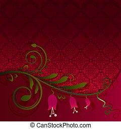 virág, tapéta, lenget, háttér., vektor, piros