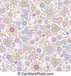 virág, tavasz, motívum, seamless