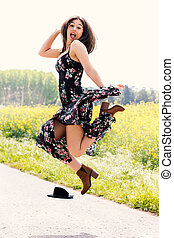 virág, ugrás, leány, ruha, outdoors., boldog