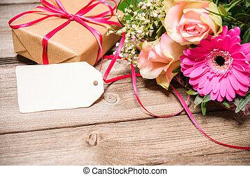 virágcsokor, noha, egy, üres, címke