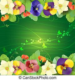 virágos, árvácskák, háttér, színes