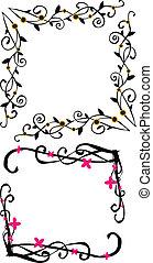 virágos, örvény, határ, keret, vectors