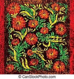 virágos, ősi, díszítés, háttér