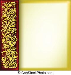 virágos, arany-, elvont, díszítés, háttér