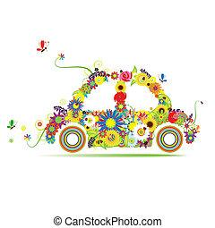 virágos, autó, alakít, tervezés, -e