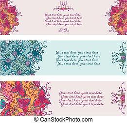 virágos, banners., elvont, állhatatos, három