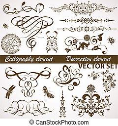 virágos, calligraphic, elem