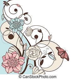 virágos, csinos, vektor, ábra