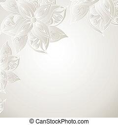 virágos, díszítés, ezüst, háttér