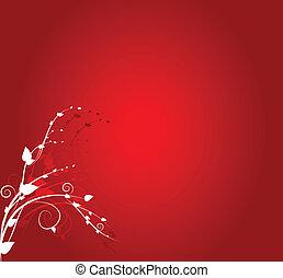 virágos, díszítés, piros háttér
