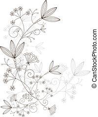 virágos, díszítés, vektor, tervezés