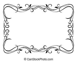 virágos, díszítő, dekoratív, vektor, keret