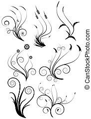 virágos, dekoratív elem