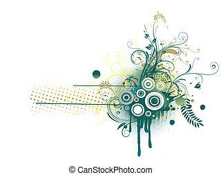 virágos, dekoratív, háttér