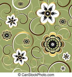 virágos, dekoratív, seamless, (vector), motívum