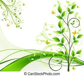 virágos, elvont, háttér, vektor