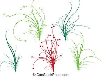 virágos, fű, vektor