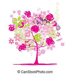 virágos, fa, gyönyörű