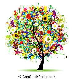 virágos, fa, gyönyörű, nyár