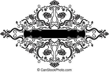 virágos, fekete, ötvösmunka drótból, transzparens