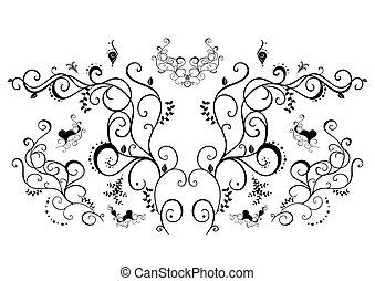 virágos, fekete, elvont, díszítés