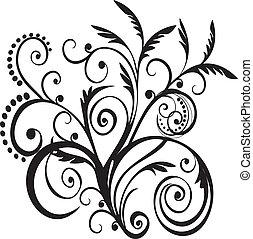 virágos, fekete, tervezés, vektor