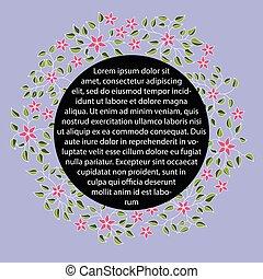 virágos, fekete, transzparens, kerek, címke