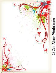 virágos, fröcskölő, keret, színes