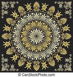 virágos, görög, vektor, díszítés, arany