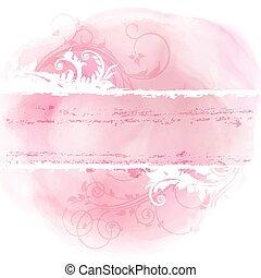 virágos, grunge, tervezés, képben látható, vízfestmény, háttér