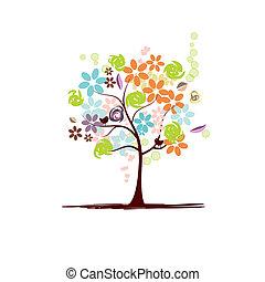 virágos, gyönyörű, fa
