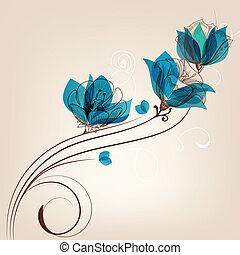 virágos, háttér, retro, kártya