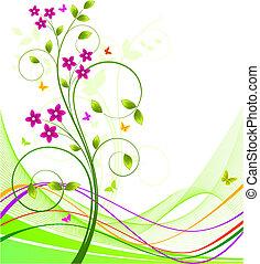 virágos, háttér, vektor