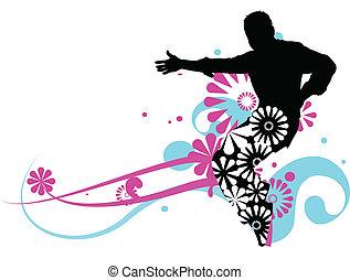 virágos, hím, tervezés, táncos