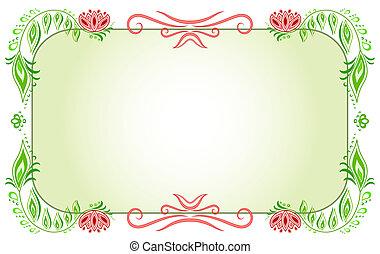 virágos, horizontális, zöld, keret
