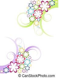 virágos, két, vektor, tervezés elem