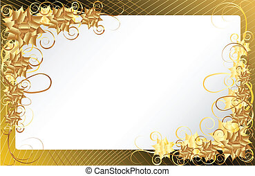 virágos, keret, arany, háttér