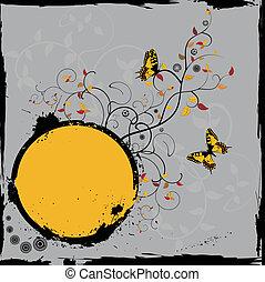 virágos, keret, grunge, pillangók
