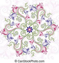 virágos, keret, kerek, színes