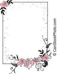 virágos, keret, lánc