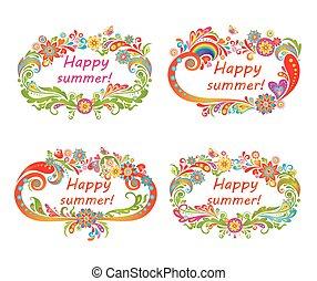 virágos, keret, nyárias