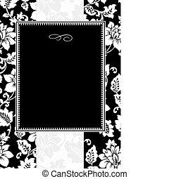 virágos, keret, vektor, fekete