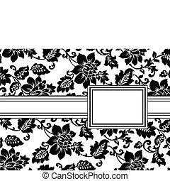 virágos, keret, vektor, szalag