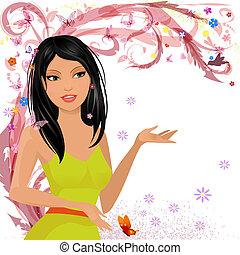 virágos, leány, mód tervezés, -e