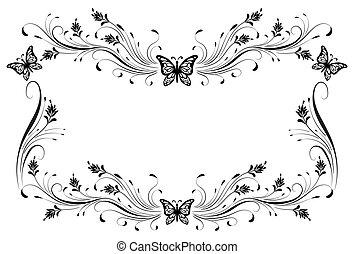 virágos, mód, elszigetelt, díszítés, keret, fehér, pillangók...