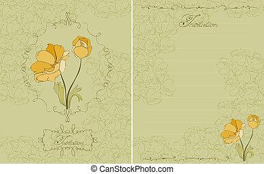 virágos, meghívás, zöld, levelezőlap, alatt, vektor