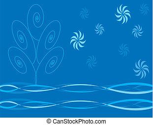 virágos, noha, kék, fa, és, hópehely